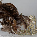 Feather Masquerade Mask Colombina Vin Gold Brown