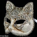 Venetian Masquerade Cat Mask Macrame Silver