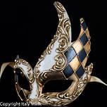 Venetian Masquerade Mask Colombina Cigno Rombi (Gold Black)