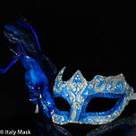 Feather Mask Colombina Vin Blue Silver