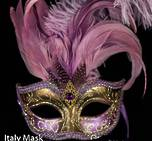 Venetian Feather Mask Colombina Ciuffo Sisi Gold Purple C
