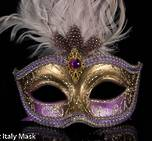 Venetian Feather Mask Colombina Ciuffo Sisi Gold Purple B