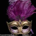 Venetian Feather Mask Colombina Ciuffo Sisi Gold Lilac/Purple A
