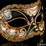 Venetian Masquerade Mask Colombina Vivian Music Black Gold