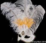 Venetian Masquerade Feather Mask Colombina Ciuffo Brillantina White 2