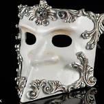 Venetian Masquerade Bauta Mask - silver/cream Baroque