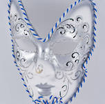 Venetian Masquerade Mask - Volto Silver with Stick