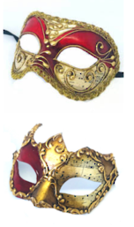 Venetian Masquerade Couples Masks - Red Music