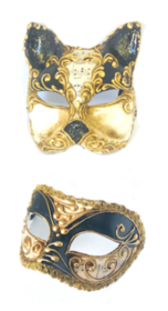Venetian Masquerade Couples Masks - Black Music/Cat Mask