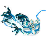 Feather Mask Colombina Vin Aqua Silver