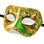 Venetian Masquerade Mask Colombina Carta Gioco Green-Gold-Cream