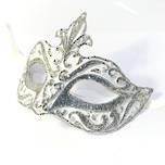 Venetian Masquerade Mask Colombina Punta Star Silver White Vin