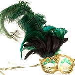Venetian Feather Masquerade Feather Mask Colombina Ciuffo Can Can Gold Green