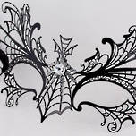 Venetian Metal Filigree Masquerade Mask Black Spider Web