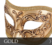 Click here to see our selection of gold Eye (Colombina) Masks!