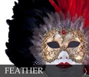 Decorative Venetian Masquerade Mask Feather