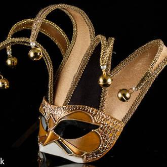 Venetian Masquerade Mask Colombina Jolly Velluto Black Gold