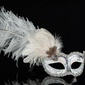Venetian Columbina Masquerade Mask In Silver Amp White With