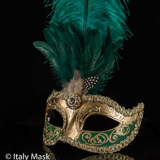 Venetian Feather Masquerade Mask Colombina Ciuffo Sisi Gold Green 2
