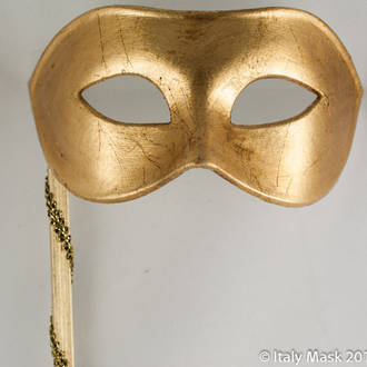 Venetian Masquerade Mask Colombina Gold on Stick