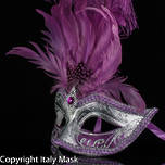 Venetian Feather Masquerade Mask Colombina Ciuffo Sisi Silver Purple