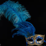 Venetian Feather Masquerade Mask Colombina Ciuffo Can Can Gold Blue