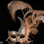 Venetian Masquerade Feather Mask Colombina Ciuffo Cigno Silver Peach