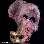 Italian Feather Masquerade Mask Colombina Ciuffo Cigno Gold Pink