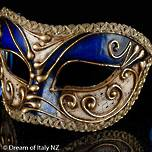 Venetian Masquerade Mask Colombina Vivian Music Blue Gold