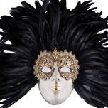 Venetian Carnival Masquerade Full Face Feather Mask- Volto Macrame Reale Black