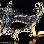 Venetian Metal Filigree Masquerade Mask Gold Black